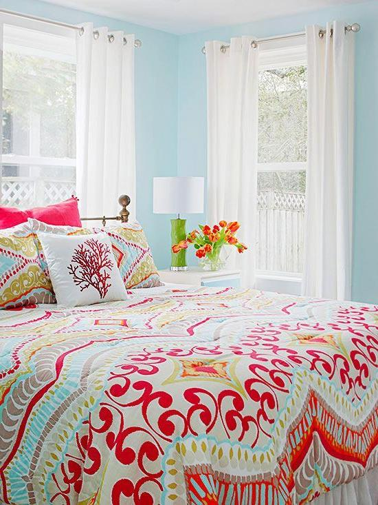 a colorful bedroom Real Life Colorful Bedrooms | Color inspiration, Real life and Bright 733 X 550