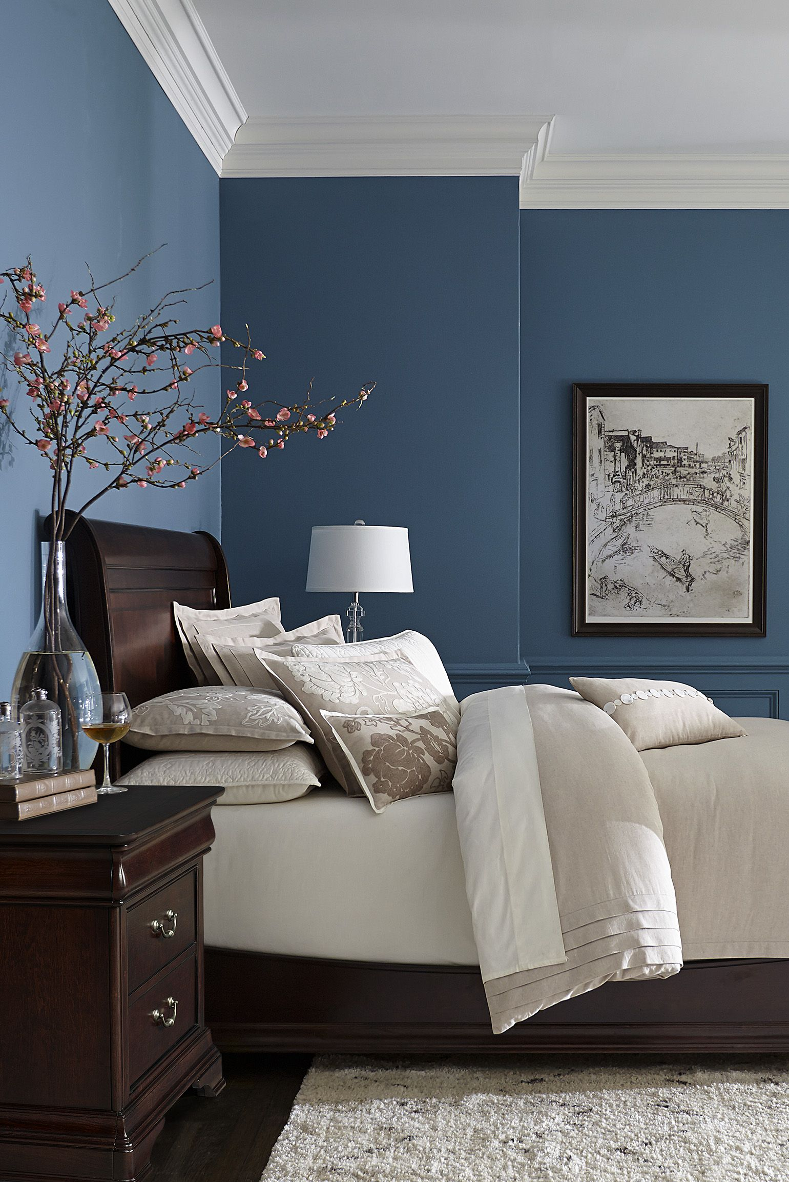 bedroom color blue Made with hardwood solids with cherry veneers and walnut inlays  2305 X 1540