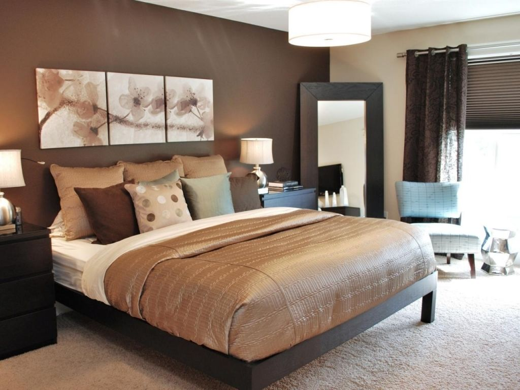 bedroom color brown Gorgeous Chocolate Brown Master Bedroom With Dark Storage Fluffy  768 X 1024