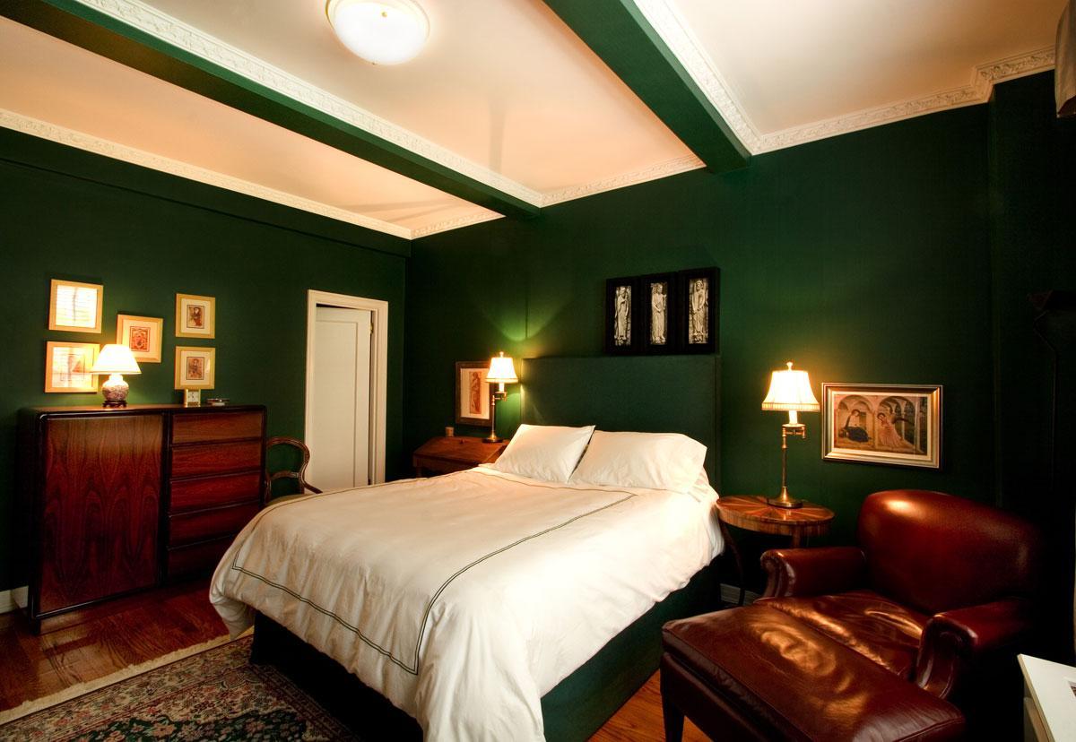 bedroom color dark bedroom color Bold design bedroom with dark green wall and dark  828 X 1200