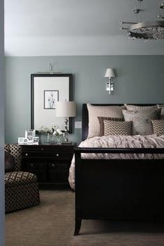 bedroom color dark furniture Blue Bright Master Bedroom Wall (16 | Dark furniture, Blue grey  354 X 236