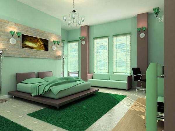 best bedroom color choices Bedroom: Comely Light Green Domination With Fuzzy Rug What Is The  450 X 600