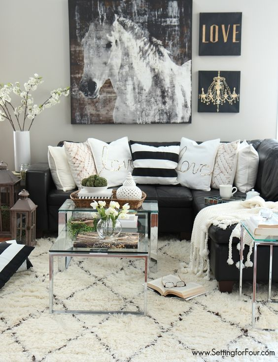 black n white living room ideas 15+ Interior Design Tips from Experts in 2017 | Black leather  736 X 564