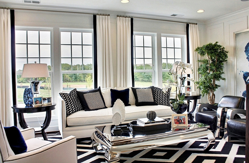 black n white living room ideas Inspiration Ideas for Black and White Rug   MidCityEast 526 X 800