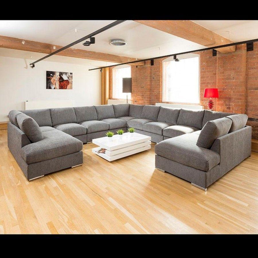 c shaped living room Extra Large Unique Sofa Set Settee Corner Group C Shape Grey 4.0x4  900 X 900