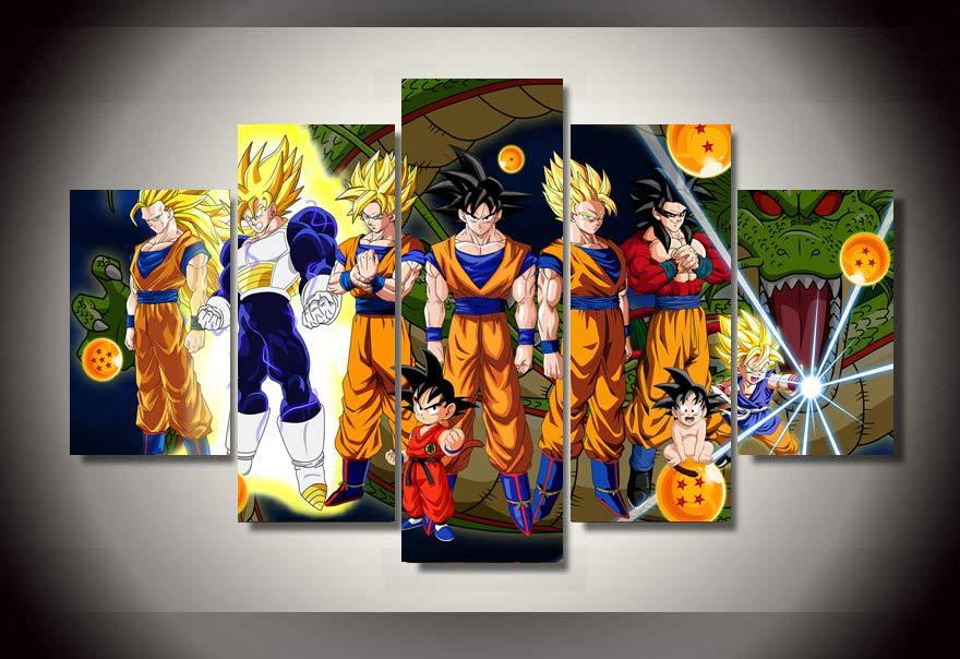 dragon ball z living room 5 Pieces Cartoon Dragon Ball Z Goku Evolution Modern Home Wall  595 X 790