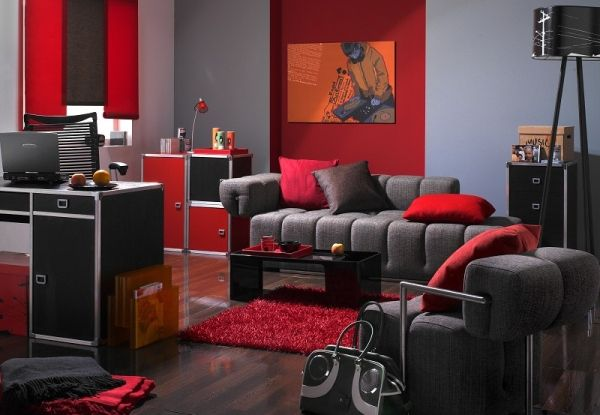 grey n red living room Pop Art Design for Living Room with Grey Sofa and Red Wall | Red  415 X 600