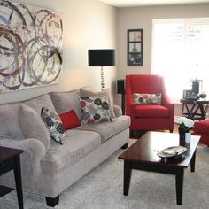 grey n red living room Future living room   gray, red, and creamyes please | Living  236 X 236